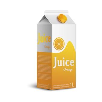 Realistyczne pudełko soku pomarańczowego z kolorowym brandingiem na białym tle