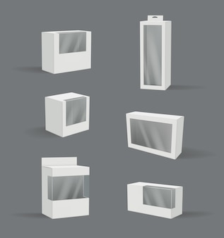 Realistyczne pudełko upominkowe. przezroczyste plastikowe opakowania nowoczesny produkt pojemnik wektor ilustracja 3d pusta makieta. zapakuj i zapakuj realistyczne, puste pudełko przezroczyste
