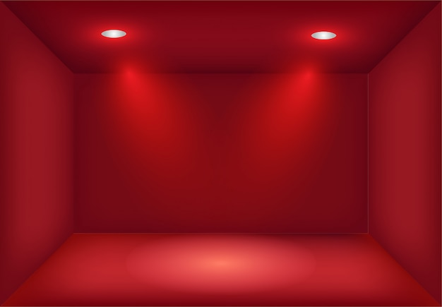 Realistyczne pudełko z czerwonym światłem ze skrzyżowanymi światłami punktowymi lub projektorem. oświetlenie salonu. tło lightbox na pokaz, wystawa. studio wnętrze puste i pusty szablon.