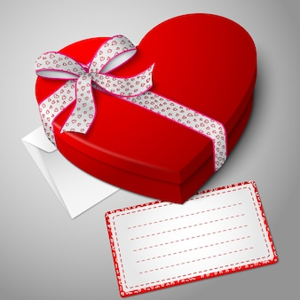 Realistyczne puste jasne czerwone pudełko w kształcie serca ze wstążką