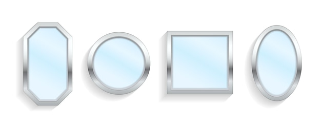 Realistyczne puste lustra z odbiciem na białym tle