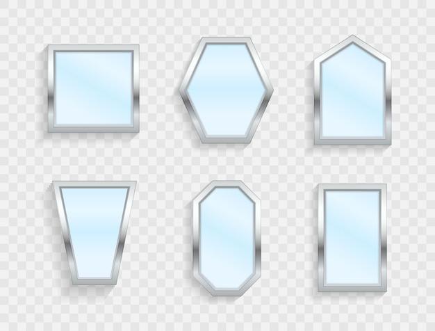Realistyczne puste lustra z odbiciem na przezroczystym tle