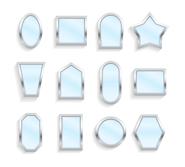 Realistyczne puste lustra z odbiciem w stylu makiety