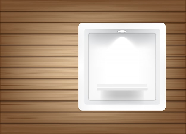 Realistyczne puste półki kwadratowe do wnętrz, aby pokazać produkt światłem i cieniem