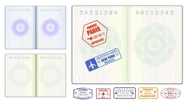 Realistyczne puste strony paszportowe lub pusty paszport ze znakiem wodnym i pieczęciami
