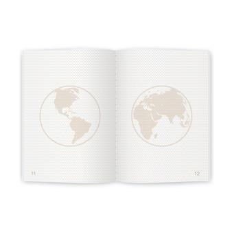 Realistyczne puste strony paszportu dla znaczków. pusty paszport ze znakiem wodnym