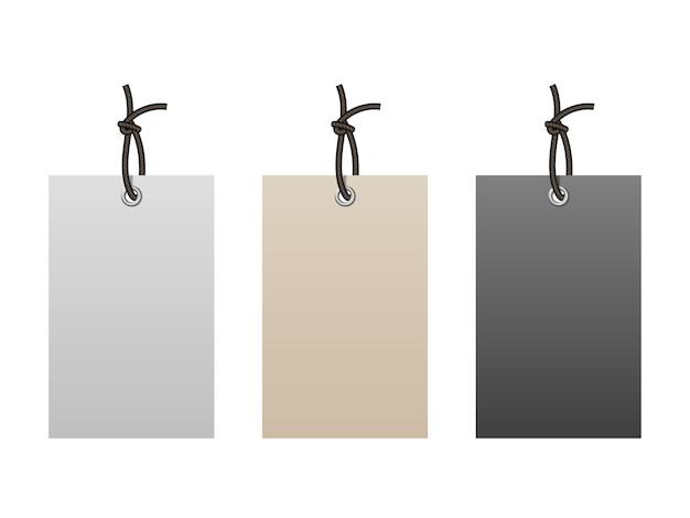 Realistyczne puste tagi papieru sznurkiem na białym tle
