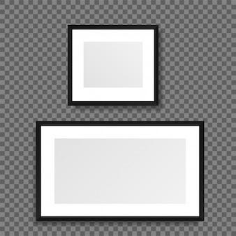Realistyczne ramki na zdjęcia na przezroczystym tle.