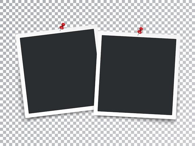 Realistyczne ramki na zdjęcia z pinowym przezroczystym efektem specjalnym