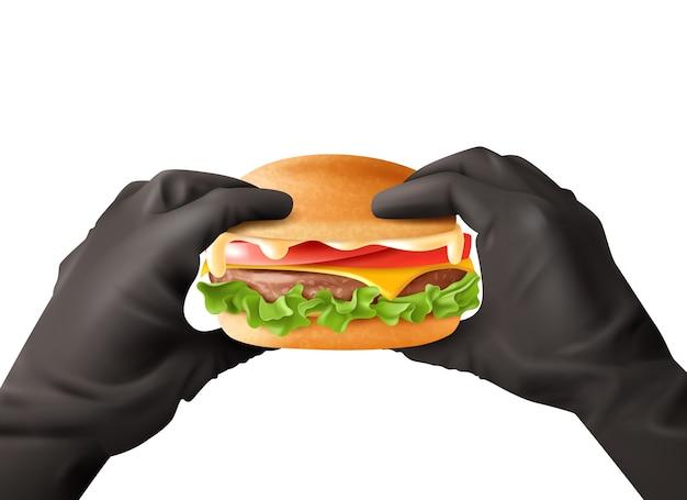 Realistyczne ręce trzymając burger ilustracja