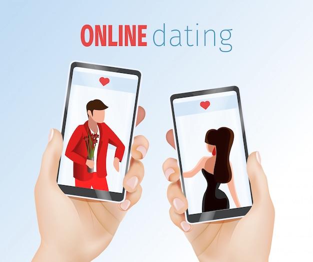 Realistyczne ręce trzymając telefony komórkowe randki aplikacji
