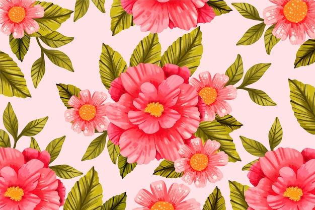 Realistyczne ręcznie malowane tło kwiatowy