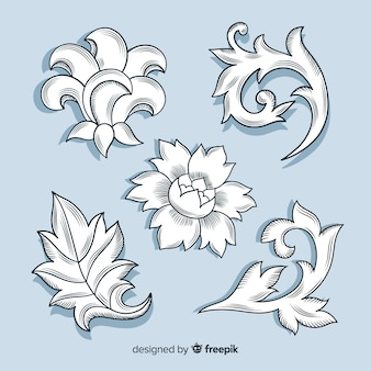 Realistyczne ręcznie rysowane barokowe kwiaty retro na niebieskim tle