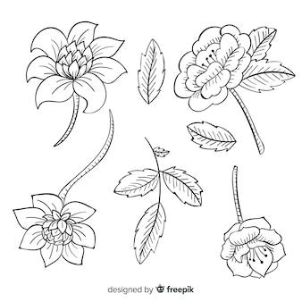Realistyczne ręcznie rysowane barokowe kwiaty retro