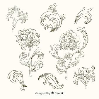 Realistyczne ręcznie rysowane barokowe kwiaty w stylu vintage
