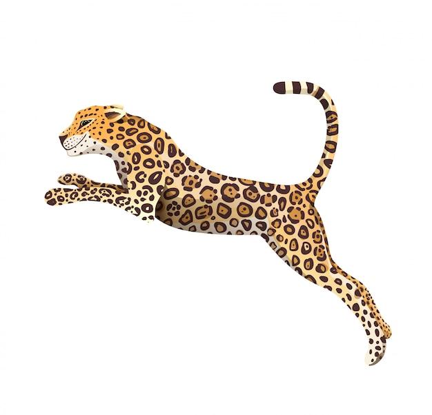 Realistyczne ręcznie rysowane jaguar skok na białym tle kreskówka. egzotyczna dżungla i las deszczowy symbol duży dziki kot pantera ilustracja. izolowane clipart zwierząt.