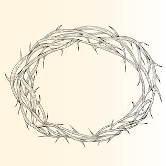 Realistyczne ręcznie rysowane korony cierniowej