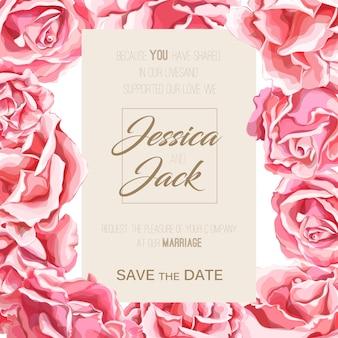 Realistyczne ręcznie rysowane kwiat róży kwiat kwitnący wzór. vintage kwiatowy ślub, małżeństwo, rocznica zaproszenie akwarela tapeta, szablon tło.