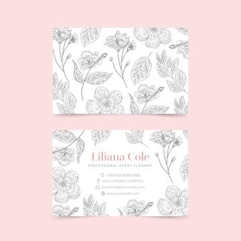 Realistyczne ręcznie rysowane kwiatowy szablon wizytówki zestaw