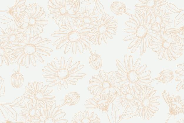 Realistyczne ręcznie rysowane kwiaty na pastelowym tle