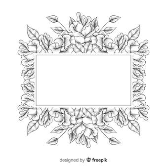Realistyczne ręcznie rysowane kwiaty z czarnym sztandarem