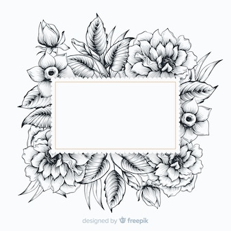 Realistyczne ręcznie rysowane kwiaty z pustym hasłem