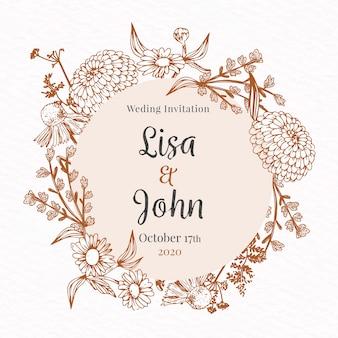 Realistyczne ręcznie rysowane kwiaty zaproszenia ślubne