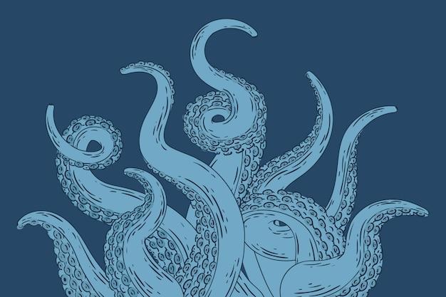 Realistyczne ręcznie rysowane ośmiornice