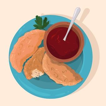 Realistyczne ręcznie rysowane pastelowe brazylijskie jedzenie