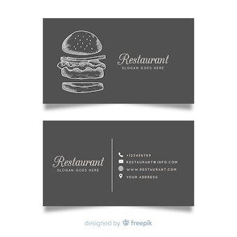 Realistyczne ręcznie rysowane restauracja wizytówki szablon