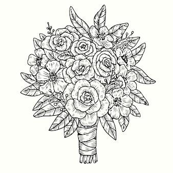 Realistyczne ręcznie rysowane rocznika bukiet kwiatów