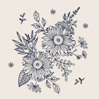 Realistyczne ręcznie rysowane rocznika kwiatowy bukiet