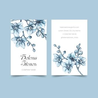 Realistyczne ręcznie rysowane szablon wizytówki kwiatowy pakiet