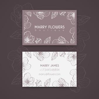 Realistyczne ręcznie rysowane szablon wizytówki kwiatowy