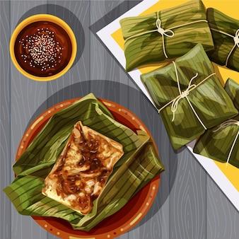 Realistyczne ręcznie rysowane tamales