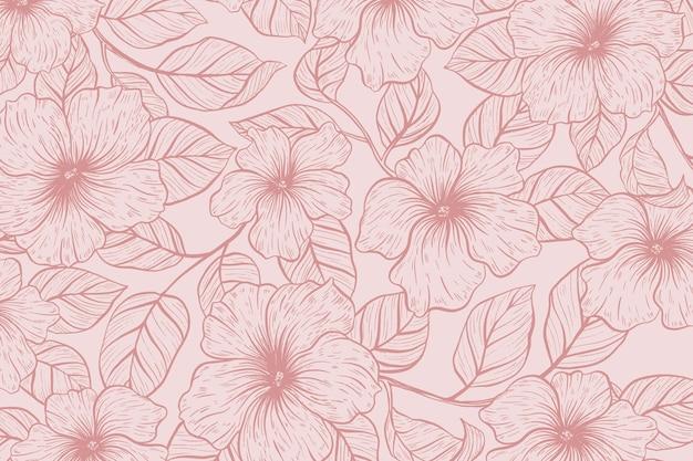 Realistyczne ręcznie rysowane tła kwiatowy