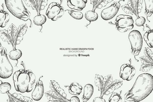 Realistyczne ręcznie rysowane tło żywności