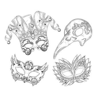 Realistyczne ręcznie rysowane weneckie maski karnawałowe