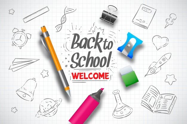 Realistyczne ręcznie rysowane z powrotem do szkoły