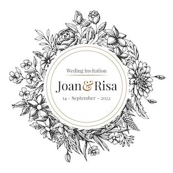 Realistyczne ręcznie rysowane zaproszenia ślubne