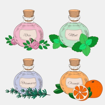 Realistyczne ręcznie rysowane zestaw butelek olejku eterycznego