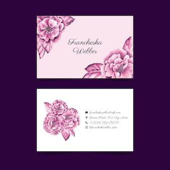 Realistyczne ręcznie rysowane zestaw szablonów wizytówek kwiatowy