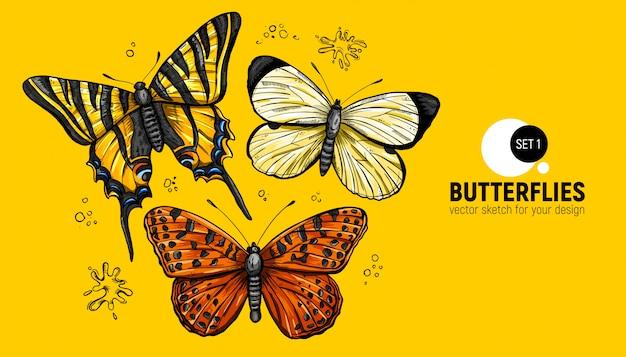Realistyczne ręcznie rysowany zestaw motyli.