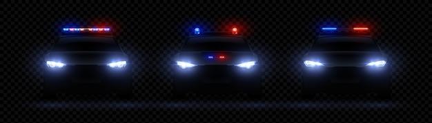 Realistyczne Reflektory Policyjne. Efekt świetlny Led świecącego Samochodu, Rzadka I Przednia Flara Syreny, Czerwone światło Policyjne Premium Wektorów