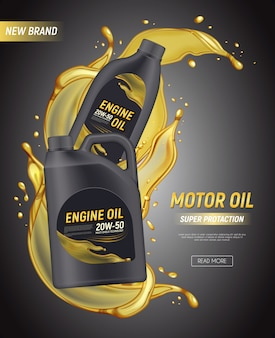 Realistyczne reklamy plakatowe oleju silnikowego z edytowalnym pakietem kanistrów tekstowych rozpryskuje się i opuszcza ilustrację oleju silnikowego