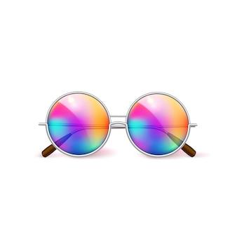 Realistyczne retro okrągłe okulary, vintage gradientowe soczewki do fotobudki