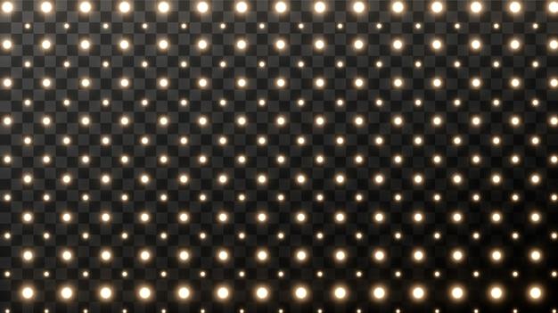 Realistyczne retro żarówki na placu. rozjarzony szyld filmu ze złotą żarówką z pustą przestrzeń dla tekstu.