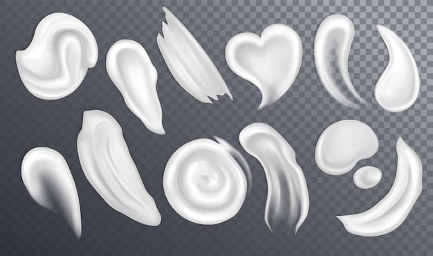 Realistyczne rozmazy lub krople kremu kosmetycznego
