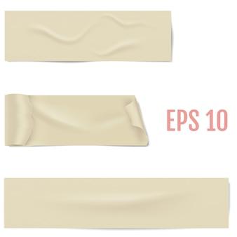 Realistyczne różne plastry taśmy klejącej z cieniem i zmarszczkami na białym tle. lepka taśma maskująca. ilustracja