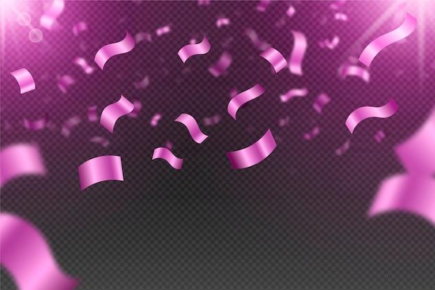 Realistyczne różowe konfetti tło
